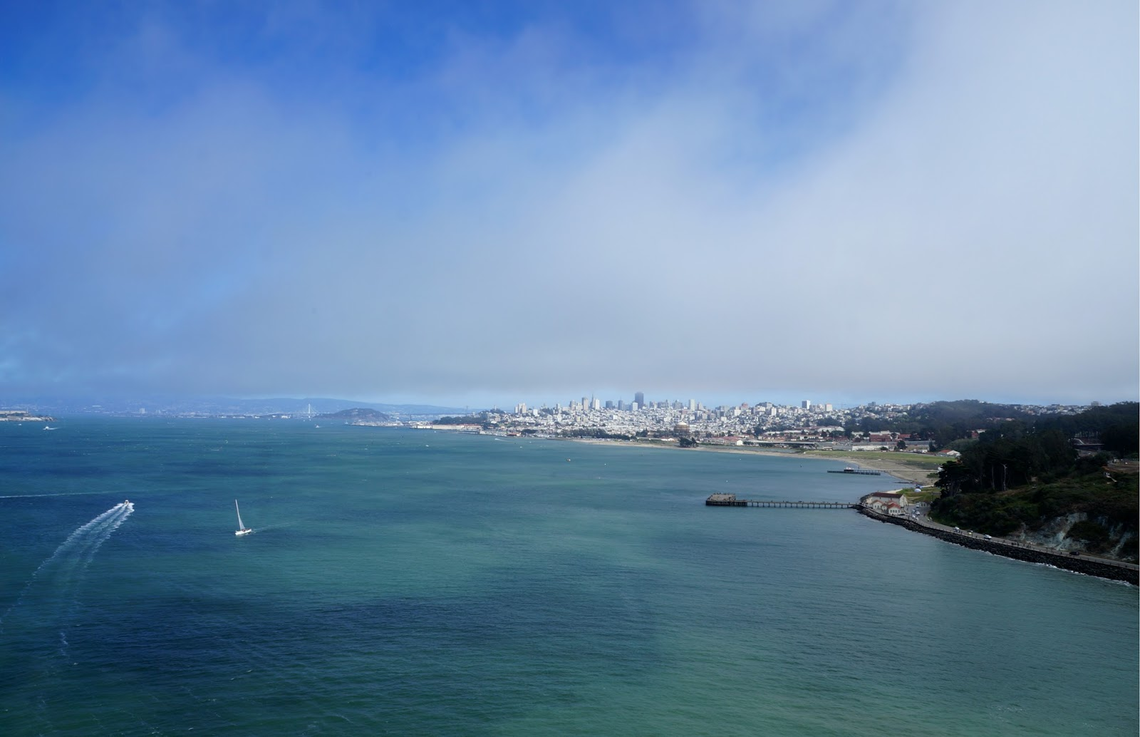 view on San Francisco from Golden Gate Bridge