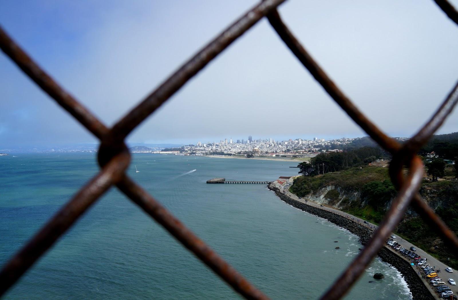 walking across Golden Gate Bridge