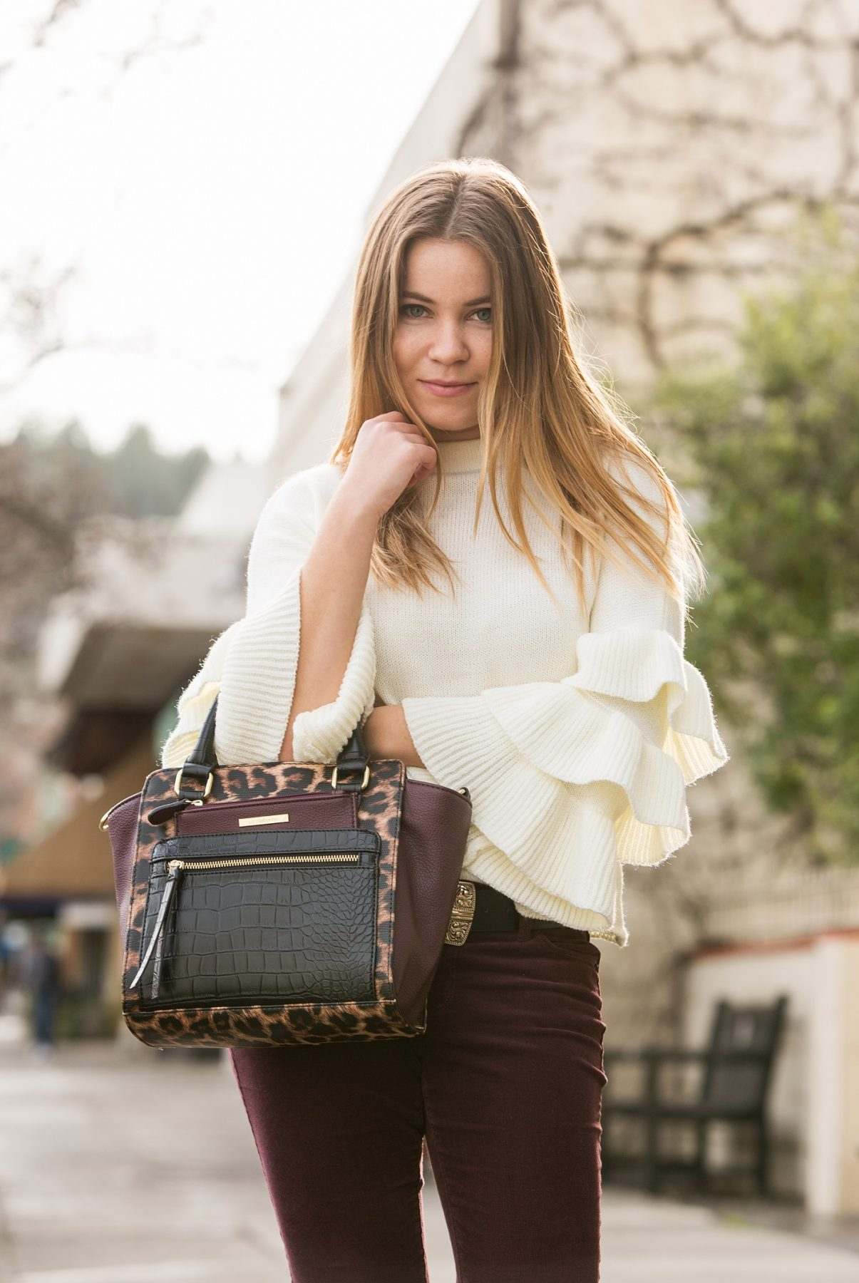 Napa Valley blogger Shein Layered Ruffle Sleeve Sweater