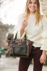 Shein Layered Ruffle Sleeve Sweater leopard print bag