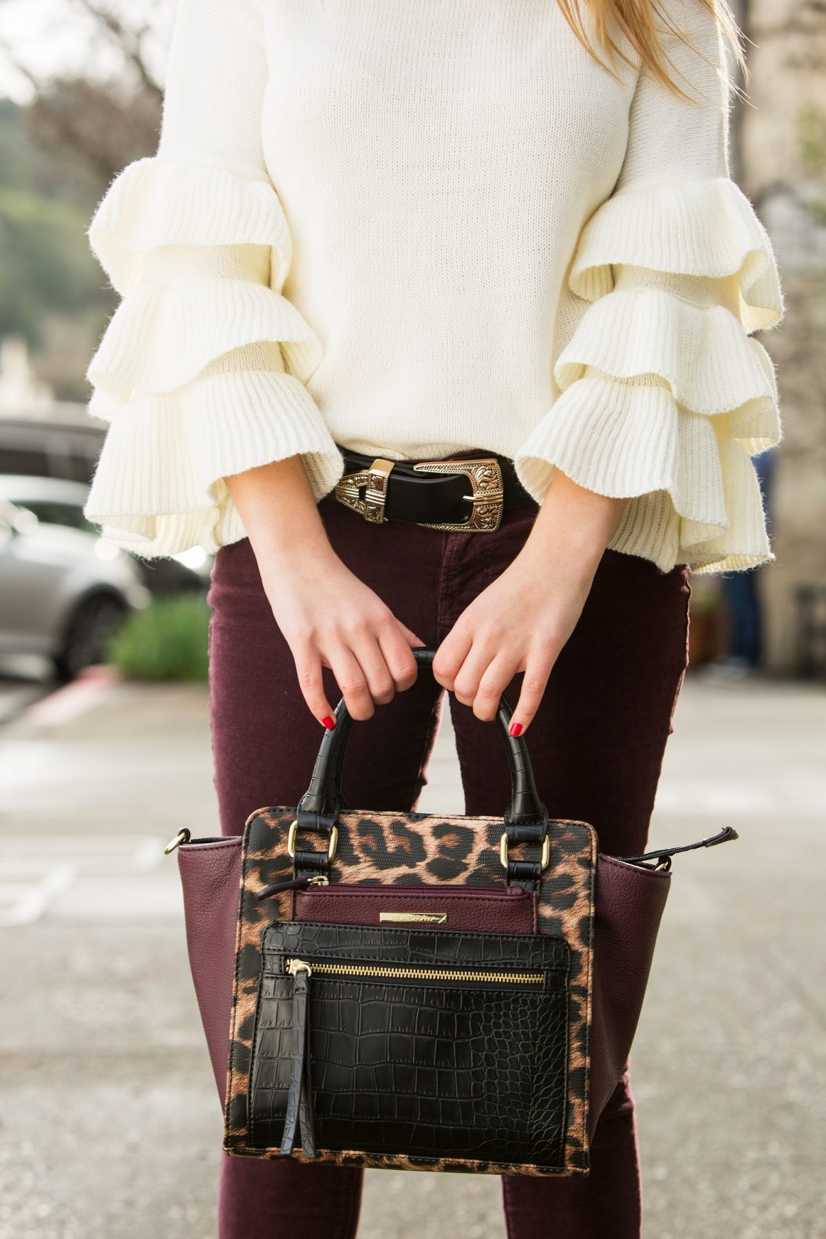 leopard print burgundy bag Napa Valley blogger