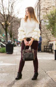 winter style Shein Layered Ruffle Sleeve Sweater