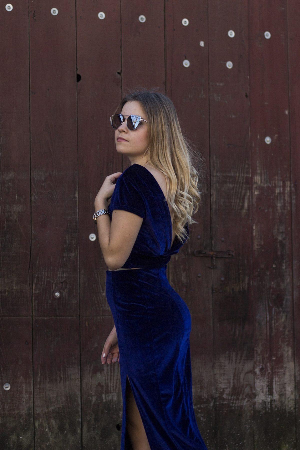 Shein velvet navy dress
