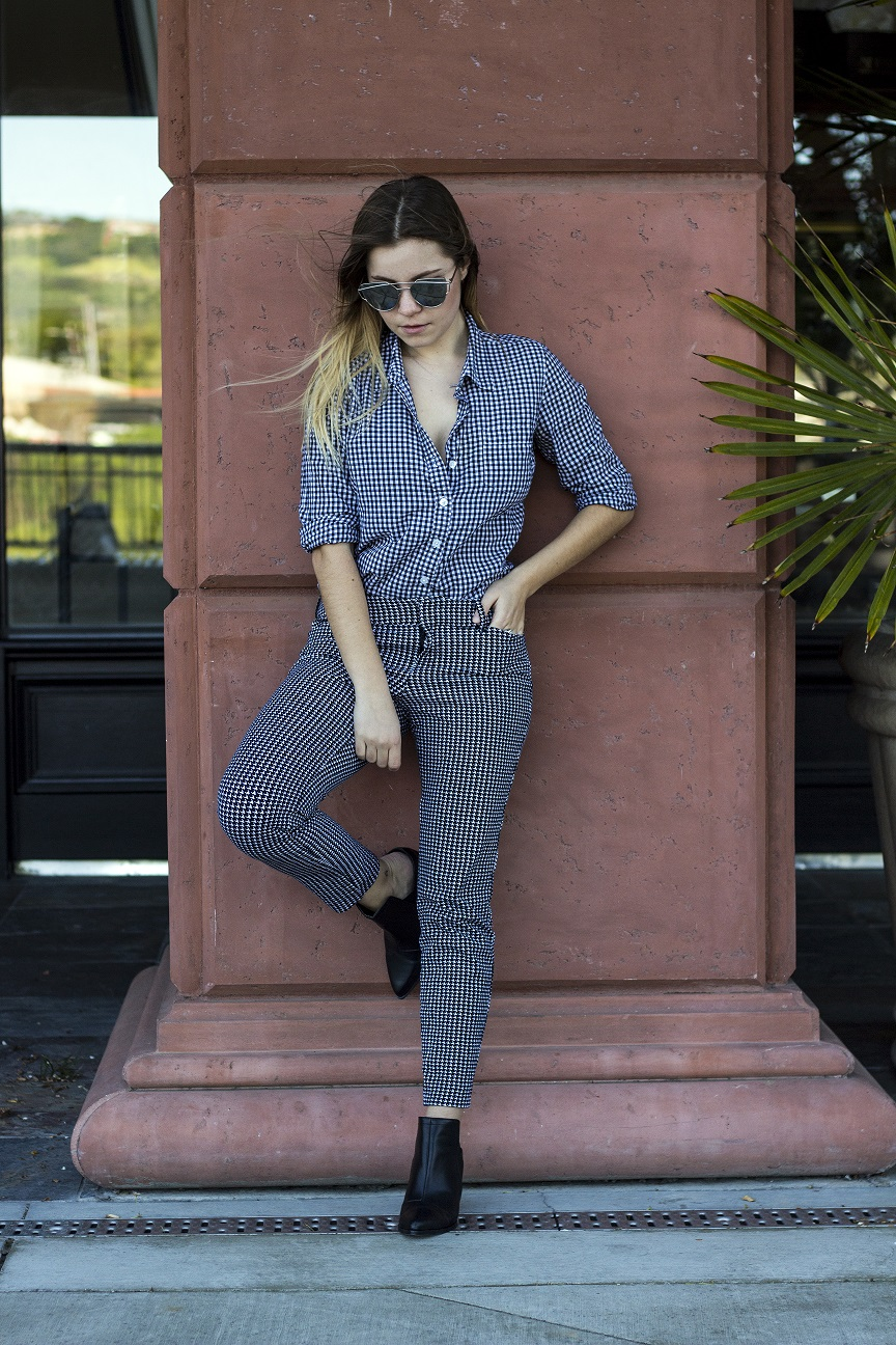 gingham print business casual