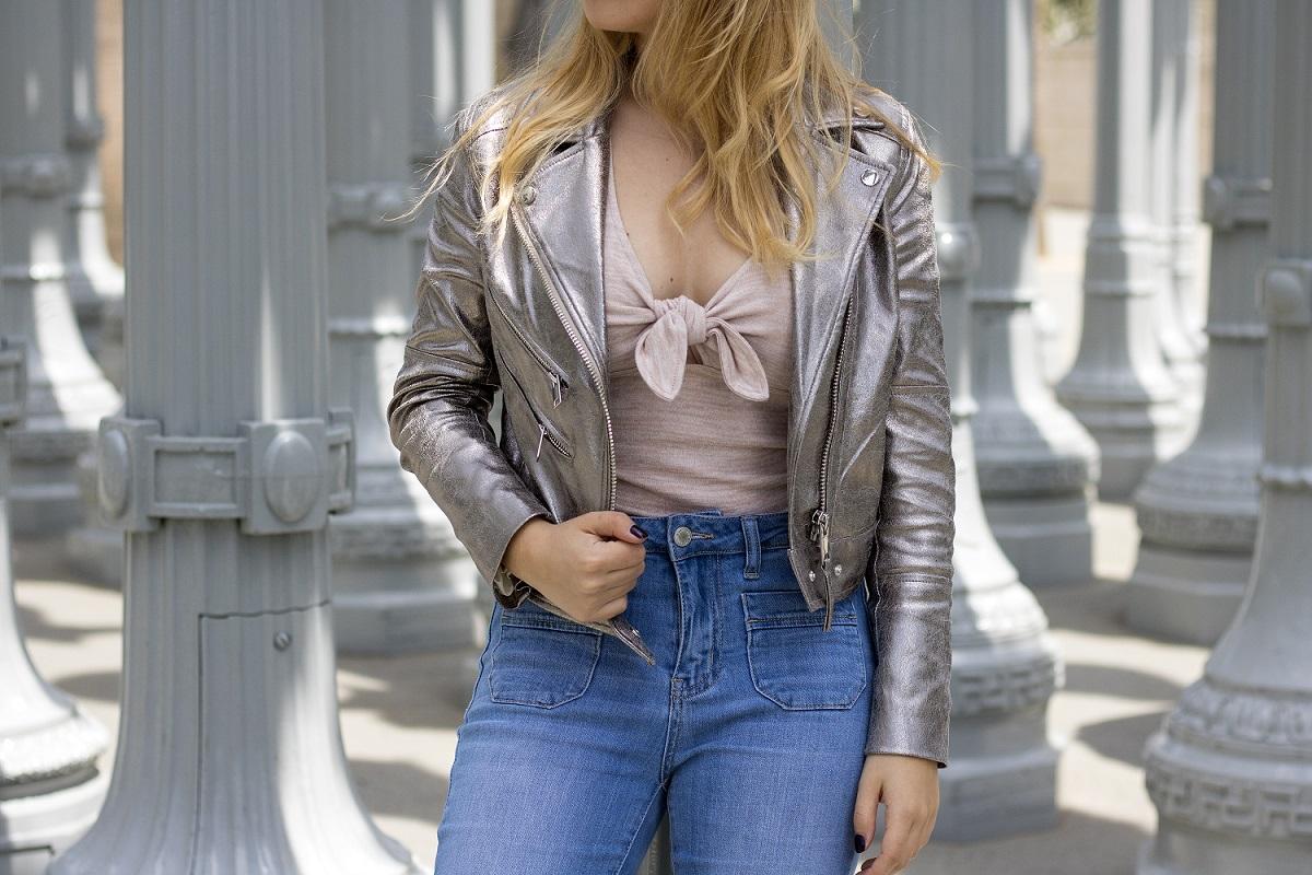 metallic biker jacket H&M spring style