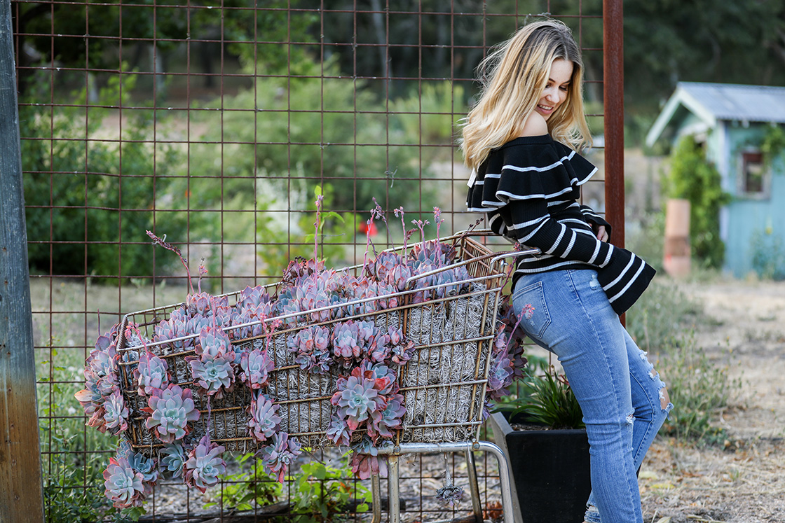 fall fashion in Napa Valley off the shoulder