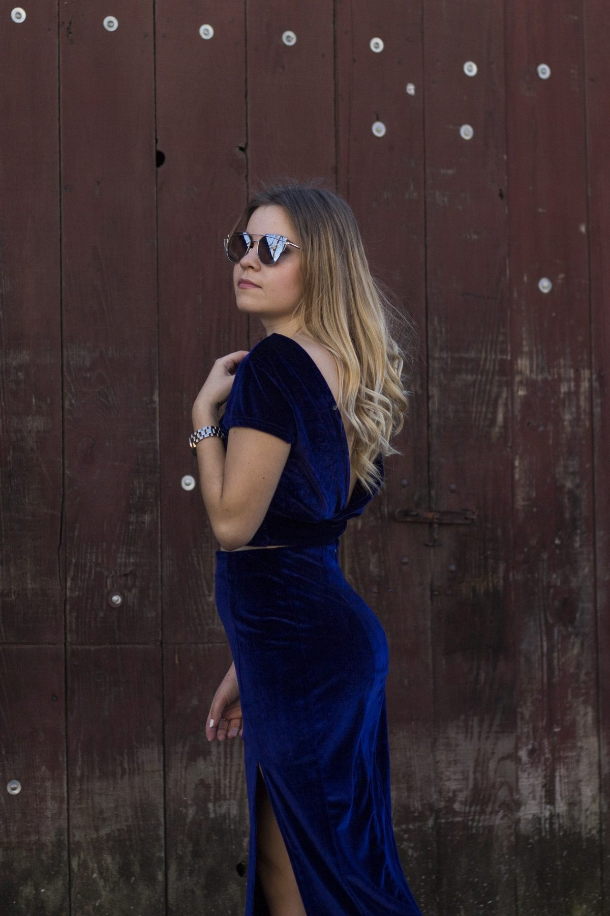 Shein velvet navy dress