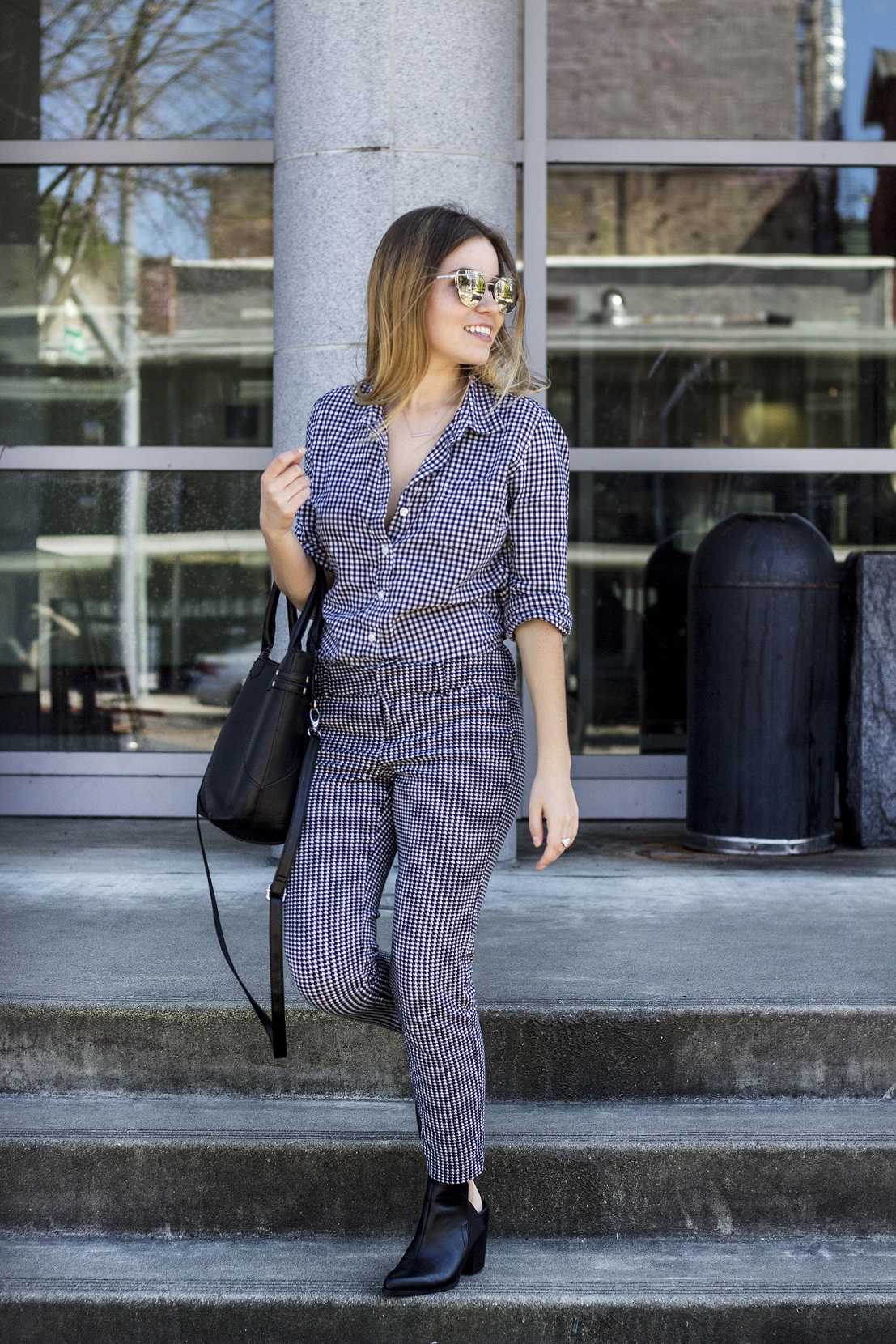 gingham on gingham work outift