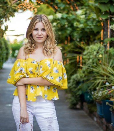off the shoulder yellow top