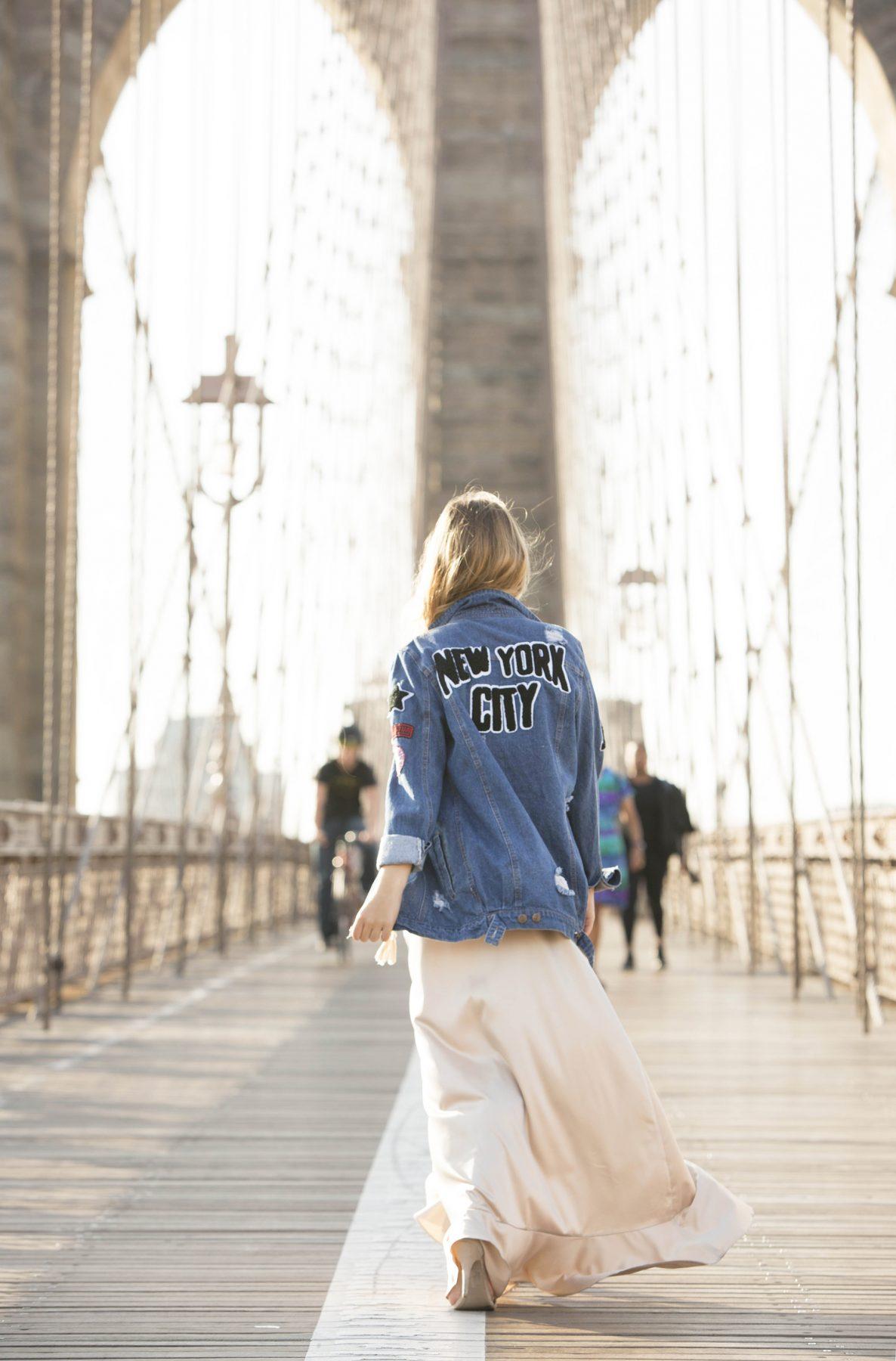 New York City jacket Brooklyn Bridge photoshoot