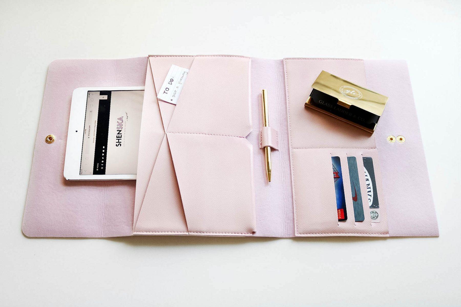 office accessory fashion tech folio vegan clutch