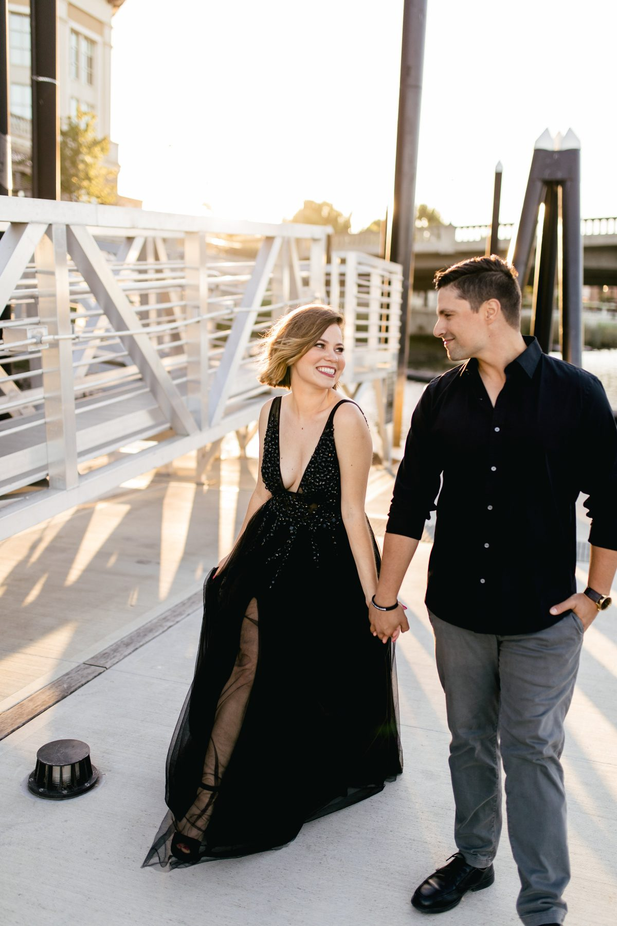downtown Napa engagement photos all black