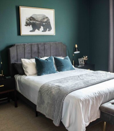 dark and moody bedroom design Sherwin Williams paint