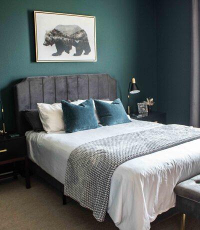 dark and moody bedroom design Sherwin Williams paint