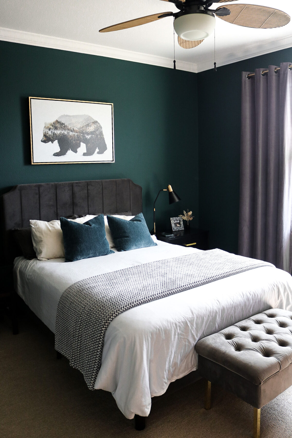 moody bedroom dark green paint color