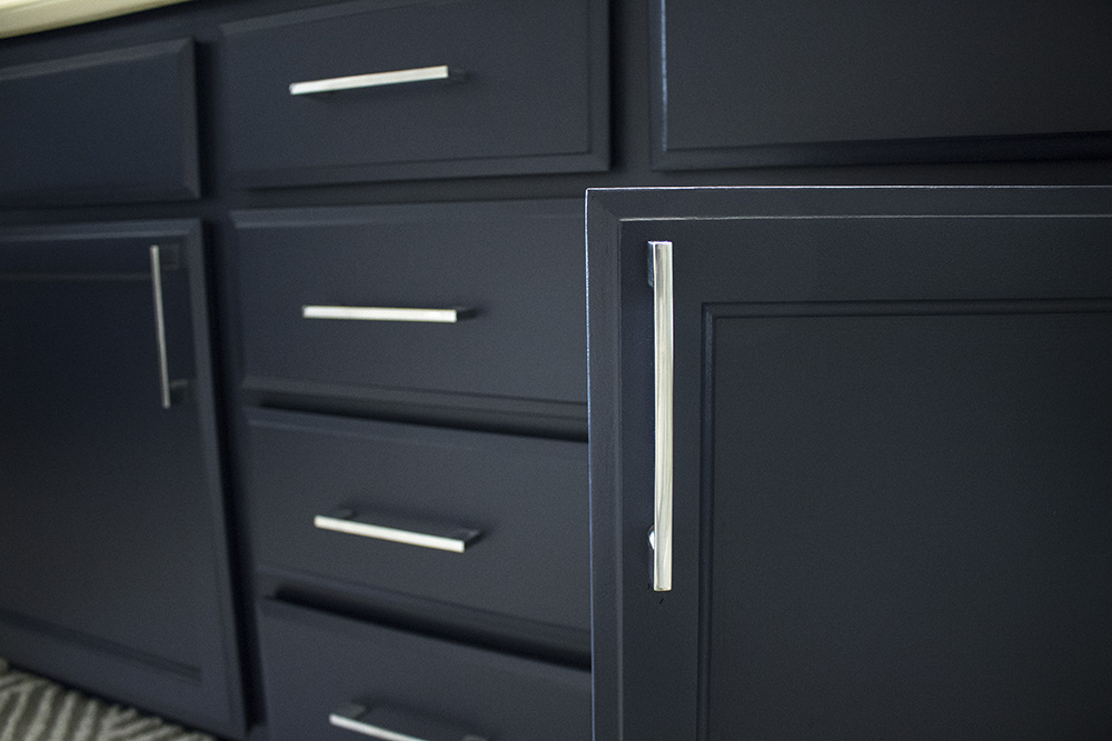 navy bathroom cabinets Anchors Aweigh by Sherwin Williams